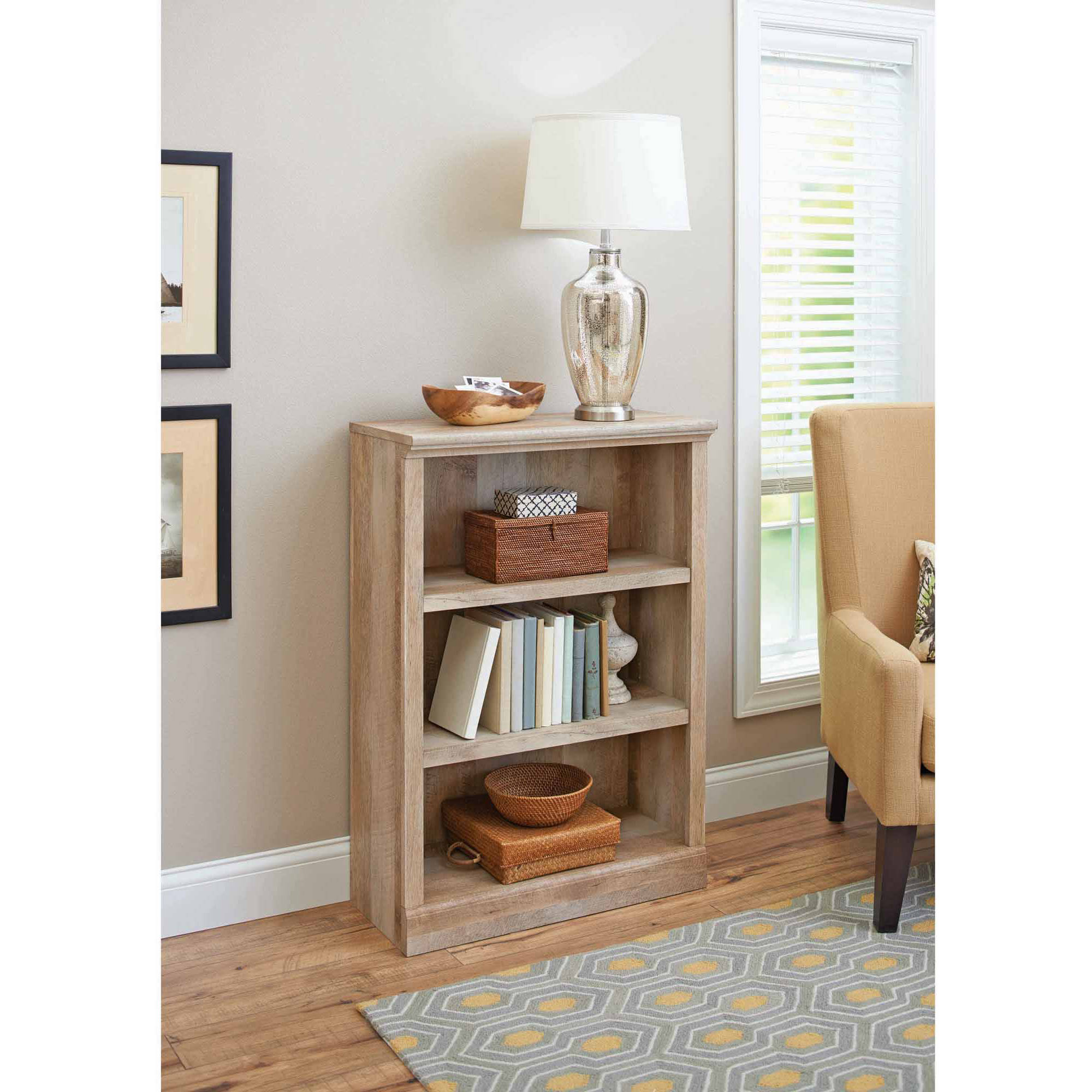 Better Homes and Gardens Crossmill Collection 3-Shelf Bookcase, Multiple Finishes
