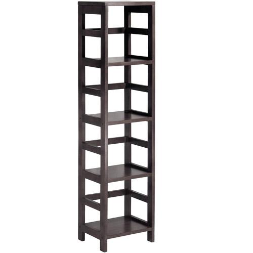 Leo Storage Open Shelf, 5-Tier, 4-Section, Tall, Espresso