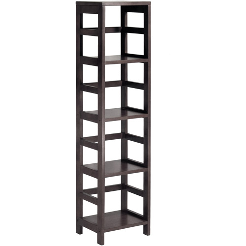 Leo Storage Open Shelf, 5-Tier, 4-Section, Tall, Espresso