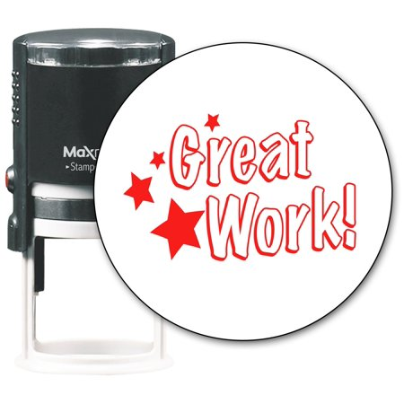 MaxMark Round Teacher Self Inking Stamp - Great Work! - Jumbo Series, Style TS314 with Red - Anniversary Stamp Series