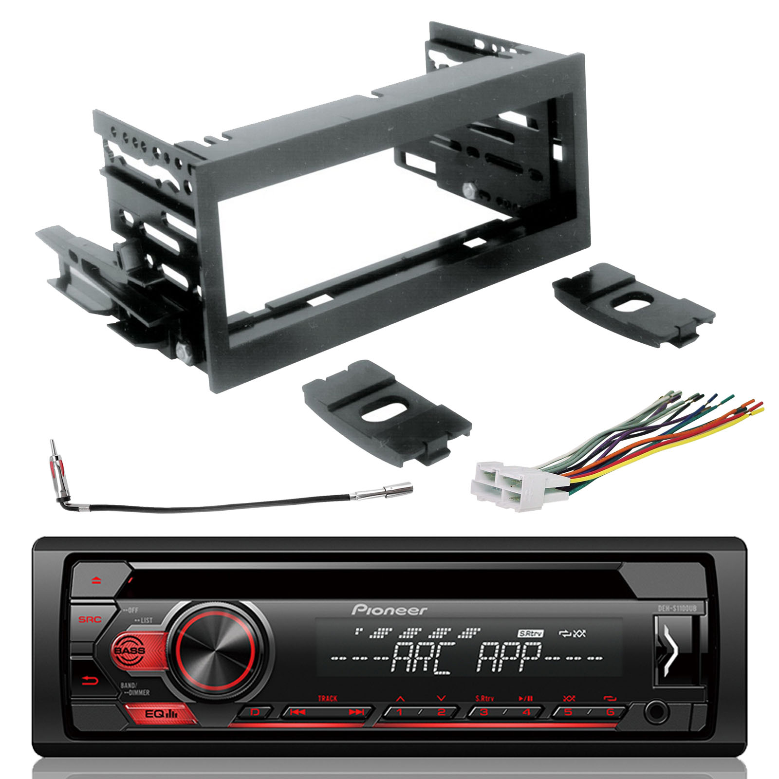 Pioneer DEH-S1100UB CD Single-DIN AM/FM Car Stereo, Scosche GM1483B on chevy trailblazer stereo harness adapters, stereo wiring harness kit, car stereo adapters, stereo wiring harness color codes, car audio harness adapters, radio harness adapters,