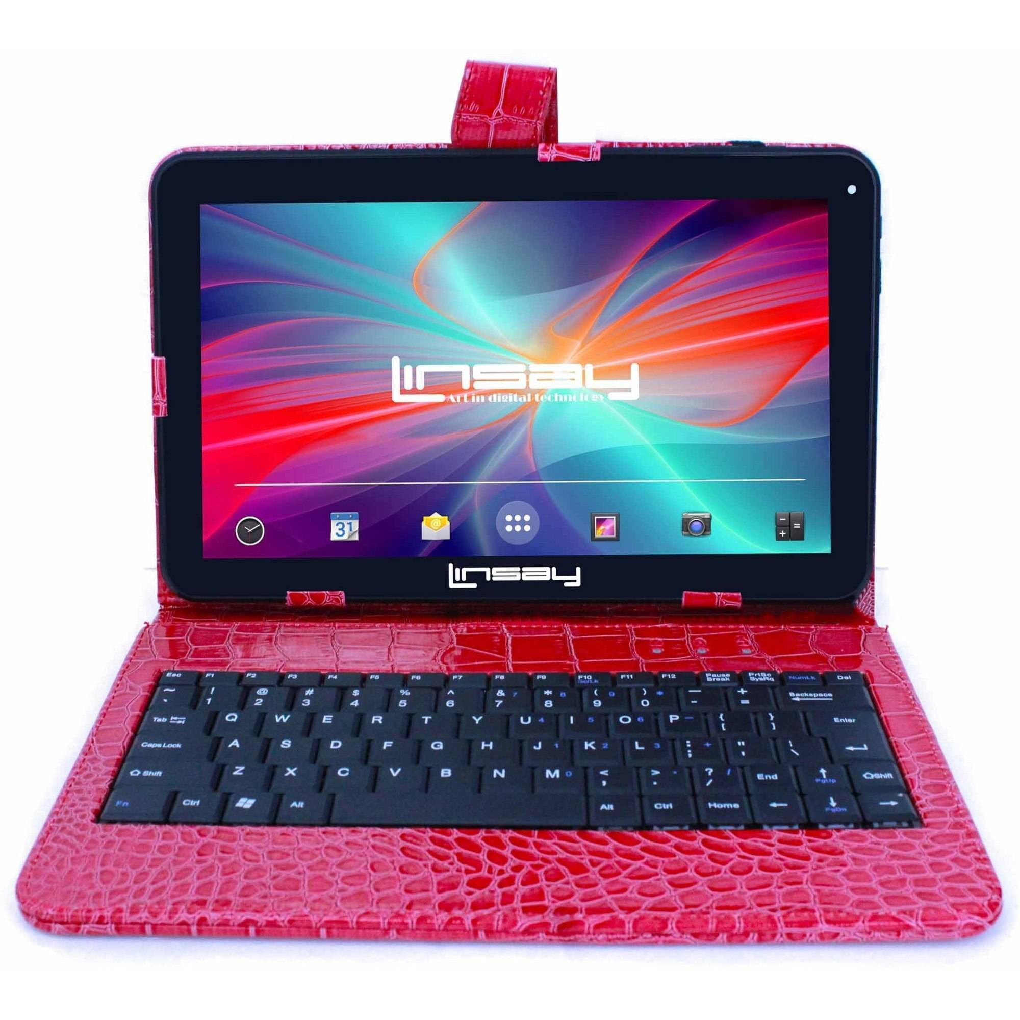 LINSAY 10.1 Touchscreen Quad Core Tablet PC Featuring Android 4.4 (KitKat) Operating System Bundle with Red Crocodile Style Keyboard