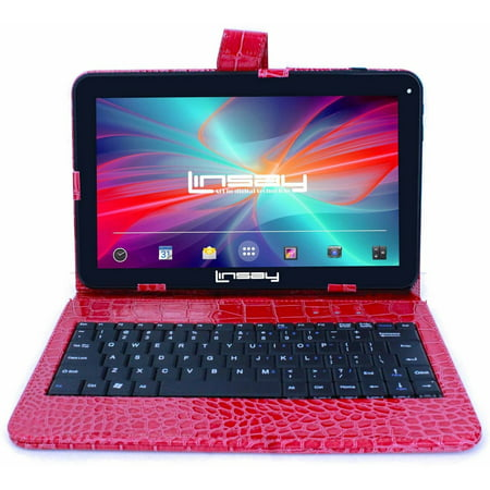 "LINSAY 10.1"" New Tablet Quad Core 16 GB Exclusive Luxury Bundle with Red Crocodile Style Keyboard Android 6.0"