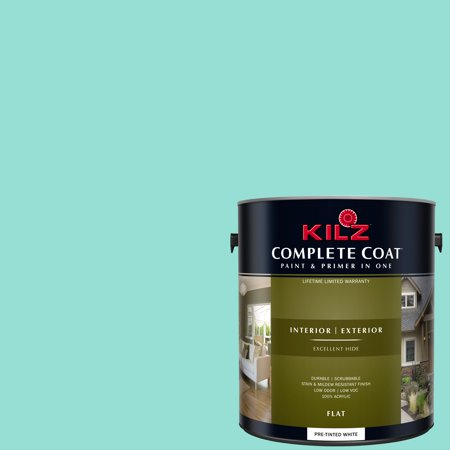KILZ COMPLETE COAT Interior/Exterior Paint & Primer in One #RG140-01 Polished (Best Turquoise Paint Color For Furniture)
