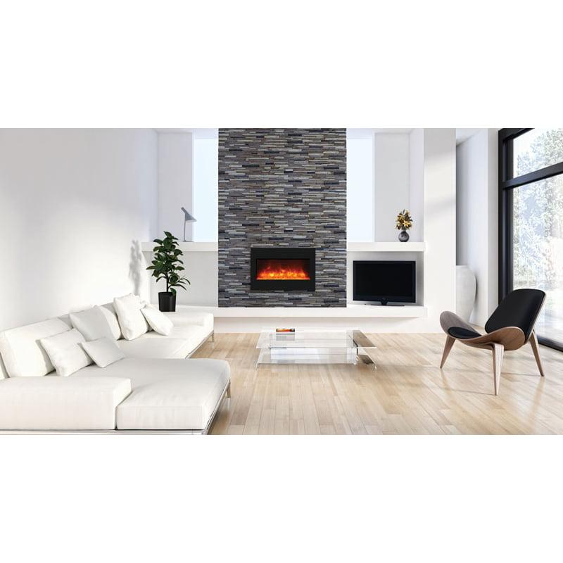 "33"" Zero Clearance Fireplace with 36"" x 24"" Black Glass Surround"