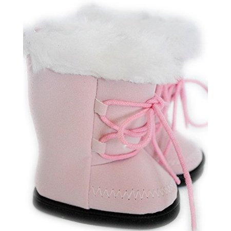 My Brittany's Pink Suede Boots with Fur Top for American Girl Dolls, My Life as Dolls, Our Generation Dolls, 18 Inch Doll Boots