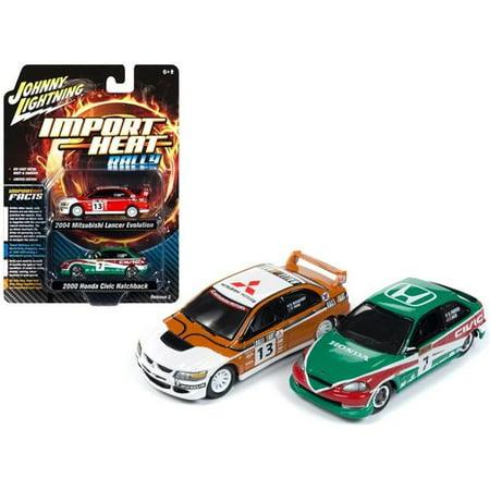 Johnny Lightning JLPK006-RALLY 2004 Mitsubishi Evolution Rally No.13 Ralliart & 2000 Honda Civic Rally No.7 Lonestar Set for 1 by 64 Die-Cast Model Cars - 2 Piece - image 1 de 1