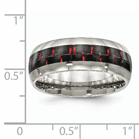 Stainless Steel Polished Black/Red Carbon Fiber Inlay Ring 11.5 Size - image 3 de 6