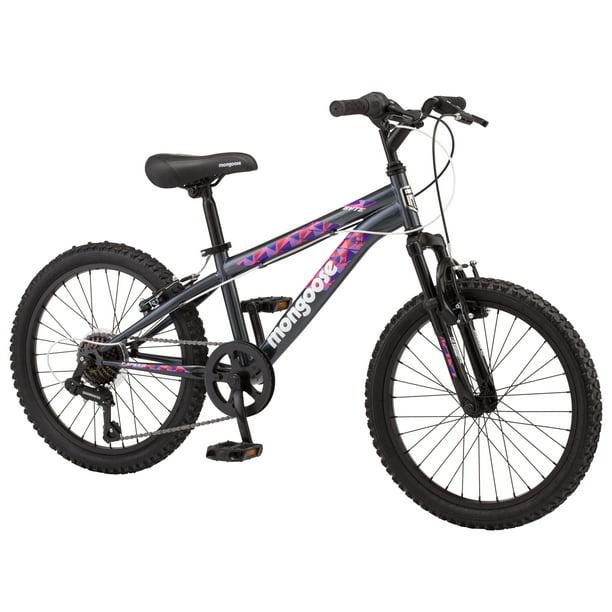 Mongoose Byte Mountain Bike 20 Inch Wheels 7 Speeds Girls Frame Ages 6 And Up Grey Walmart Com Walmart Com