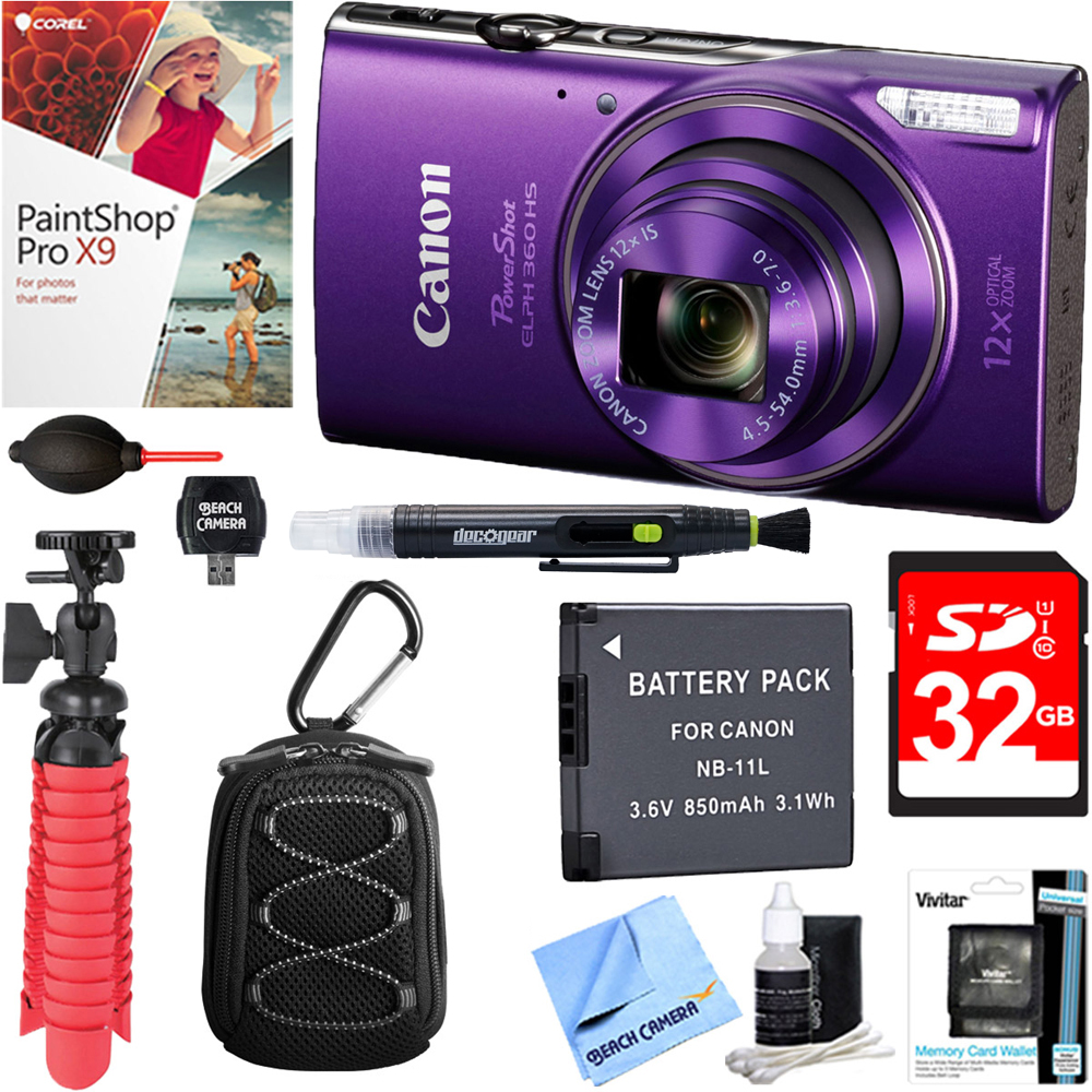 Canon PowerShot ELPH 360 HS Digital Camera (Purple) + 32GB Deluxe Accessory Bundle