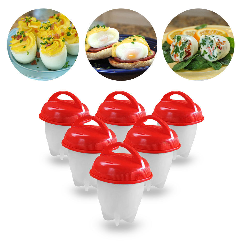 6pcs Egg Cooker Egg Boiler without the Shell Silicone for Egg Food Diy Tools (Red)