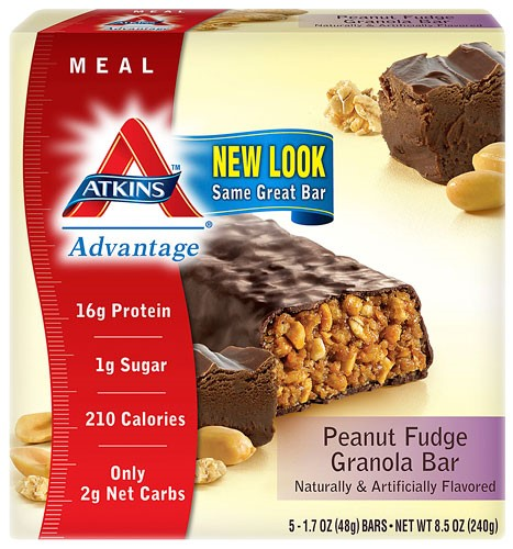 Atkins Peanut Fudge Granola Bars, 1.7oz, 5-pack (Meal Replacement)