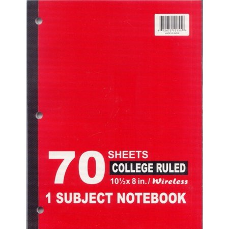 1 Subject College Ruled Wireless Notebook - 70 Sheets Case Pack