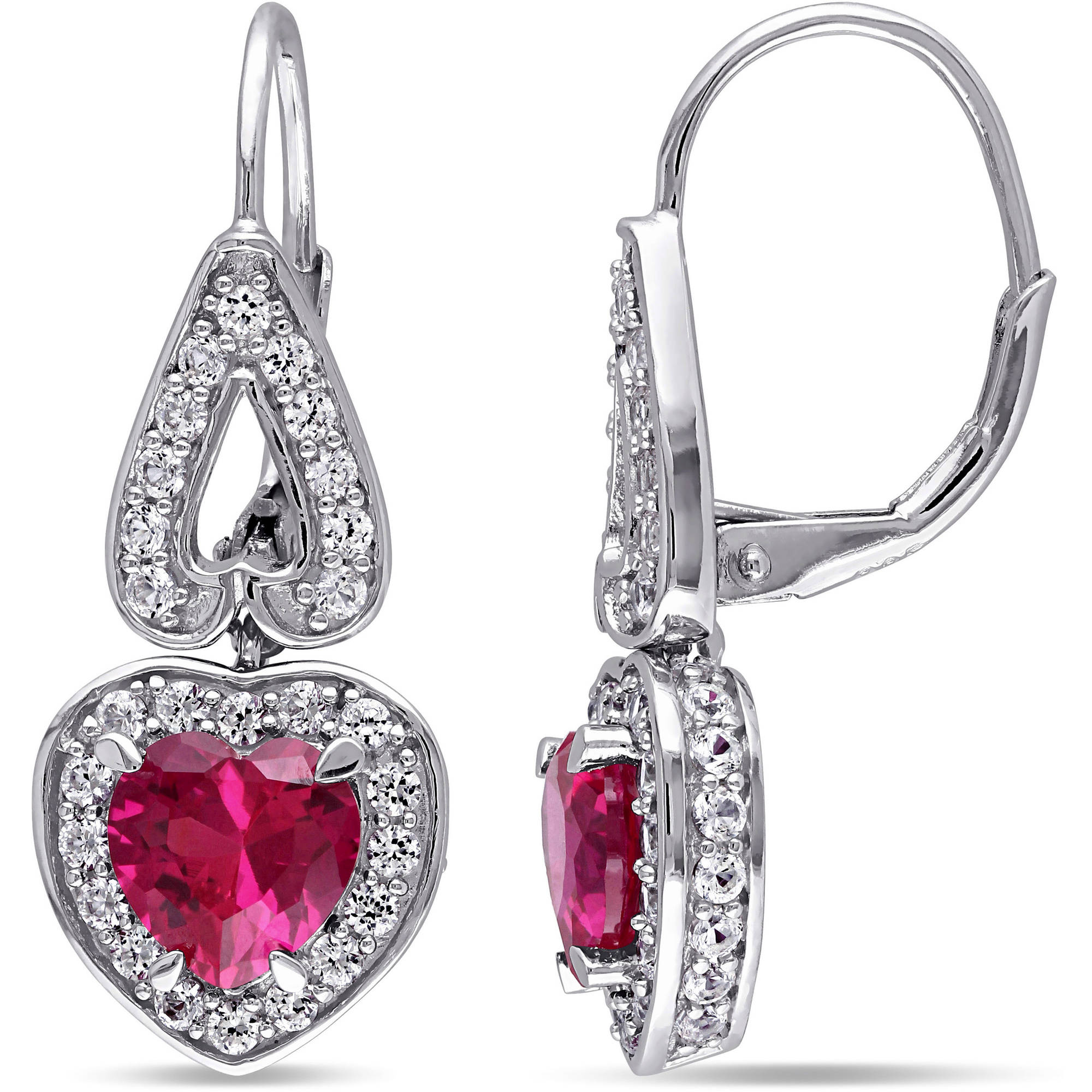 Tangelo 4-7/8 Carat T.G.W. Created Ruby and Created White Sapphire Sterling Silver Halo Heart Earrings