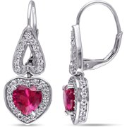 4-7/8 Carat T.G.W. Created Ruby and Created White Sapphire Sterling Silver Halo Heart Earrings