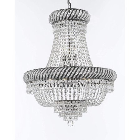 """French Empire Crystal Chandelier Lighting H26"""" X W23"""" with Dark Antique Finish!"""