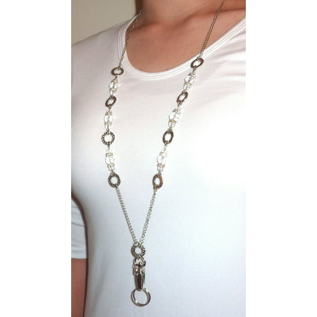 Hidden Hollow Beads The Grand Fashion Lanyard Necklace, Women's super strong chain lanyard for ID badge holder and keys, 34