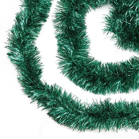 50' Shiny Everest Green Festive Christmas Foil Tinsel Garland - Unlit - 8 Ply