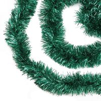 50' Shiny Everest Green Festive Christmas Foil Tinsel Garland - Unlit - 8 Ply