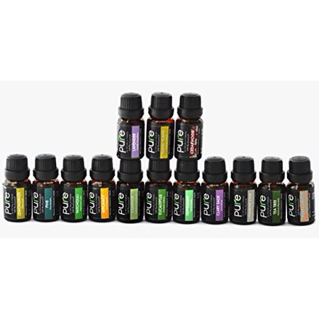 Premium 14 Pure Essential Oils Variety Pack (FRANKINCENSE, PATCHOULI, CLARY SAGE, BERGAMOT, LAVENDER, YLANG YLANG, CAMPHOR, CEDARWOOD, PINE, TEA TREE, LEMONGRASS, ORANGE, EUCALYPTUS, & PEPPERMINT