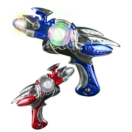 Fun Central (AT763) 1 pc 11 Inch Led Space Blaster Gun, Light Up Spinner, Laser Gun, Toy Guns for Kids