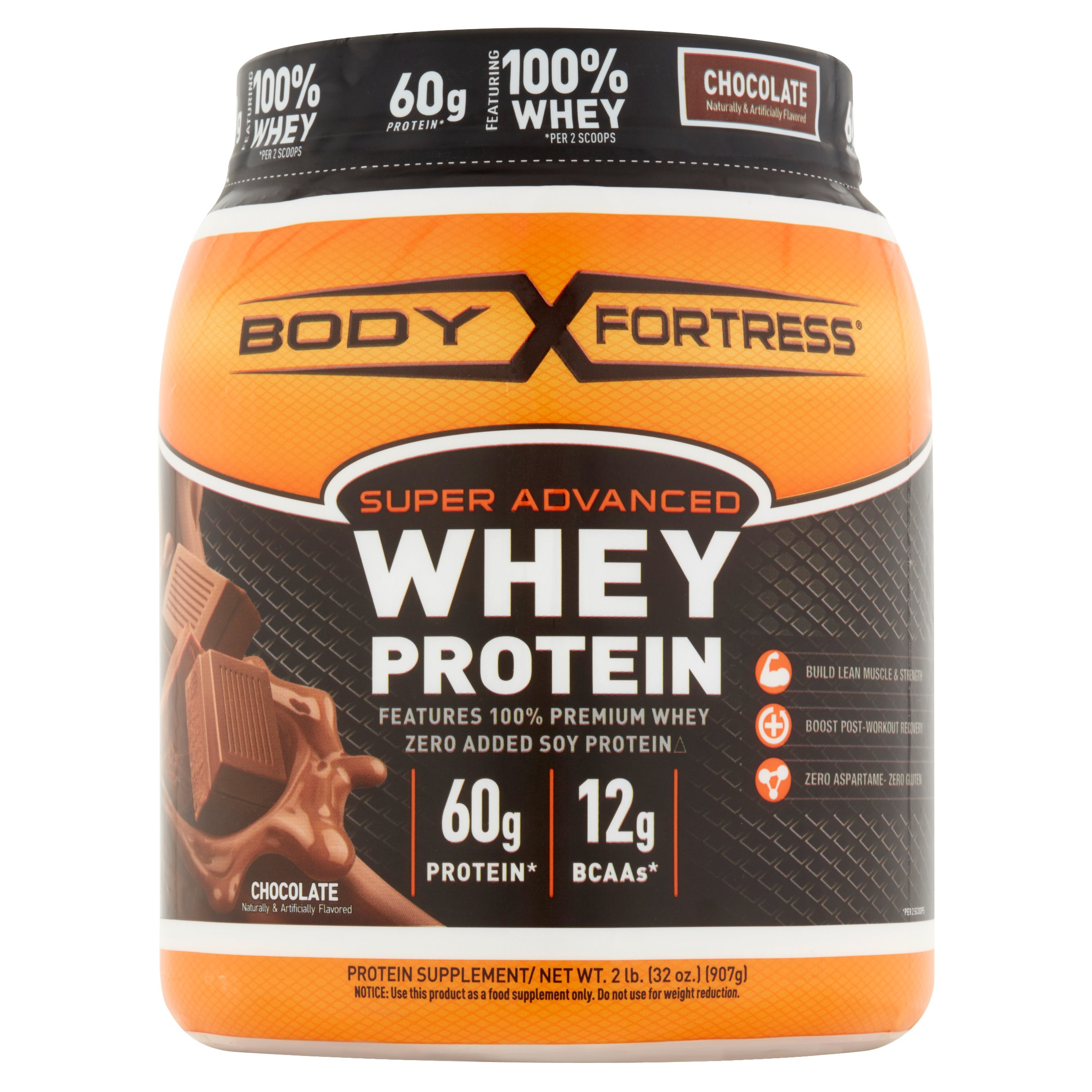 Body Fortress Super Advanced Whey Protein Powder, Chocolate, 60g Protein, 2 Lb