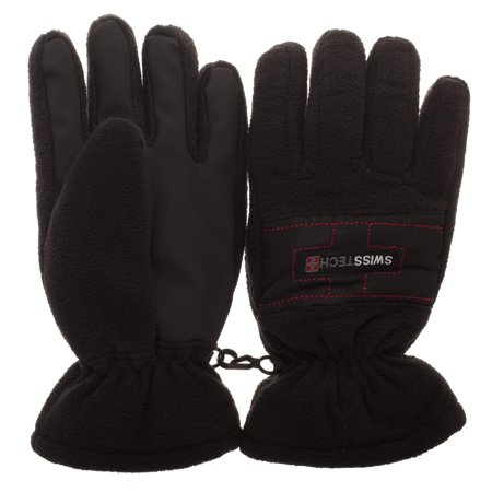 Swiss Tech Youth Waterproof Black Ski Glove with Thinsulate M-80 Fleece Lining and Full Palm