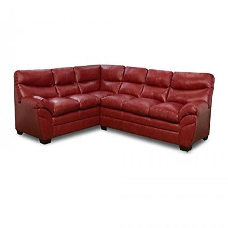 Simmons Upholstery 9515 03lb Soho Bonded Leather Sectional Sofa Cardinal