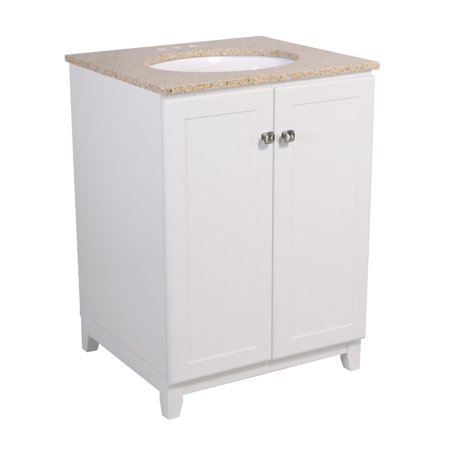 Design House 612903 Shorewood 2 Door Vanity With Golden Sand Granite Vanity Top 25   White