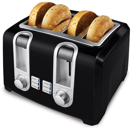Black & Decker Extra Lift 4-Slice Black Toaster