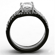 ladies 175 ct cz solitaire stainless steel black wedding ring set size 5 11 new - Black Wedding Ring Sets