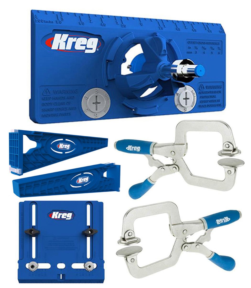 Kreg Drawer Slide Mounting Tool, Cabinet Hardware Jig, Hinge Jig, & 2 Face Clamp by Kreg