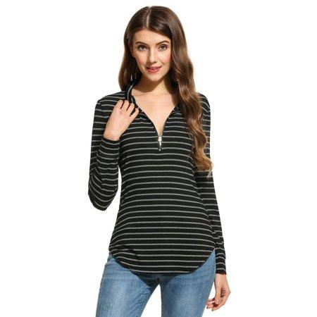 Underwear Zip Collar Shirt - Women Stand Collar Long Sleeve Half Zip Striped Irregular Hem Blouse HFON