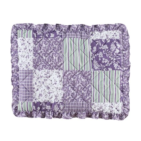 Classique Lavender Ruffled Patchwork Pillow Sham with Accents of Green and White - Seasonal Décor for Bedroom, Sham, Lavender