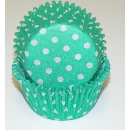 Green and White  Polka Dot Cupcake Liners - Baking Cups -50pack - Polka Dots Cupcakes