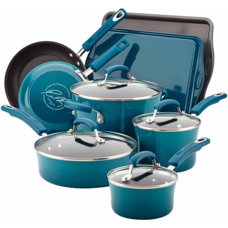 Rachael Ray Classic Brights Hard Enamel Nonstick 12-Piece Cookware Set, Blue