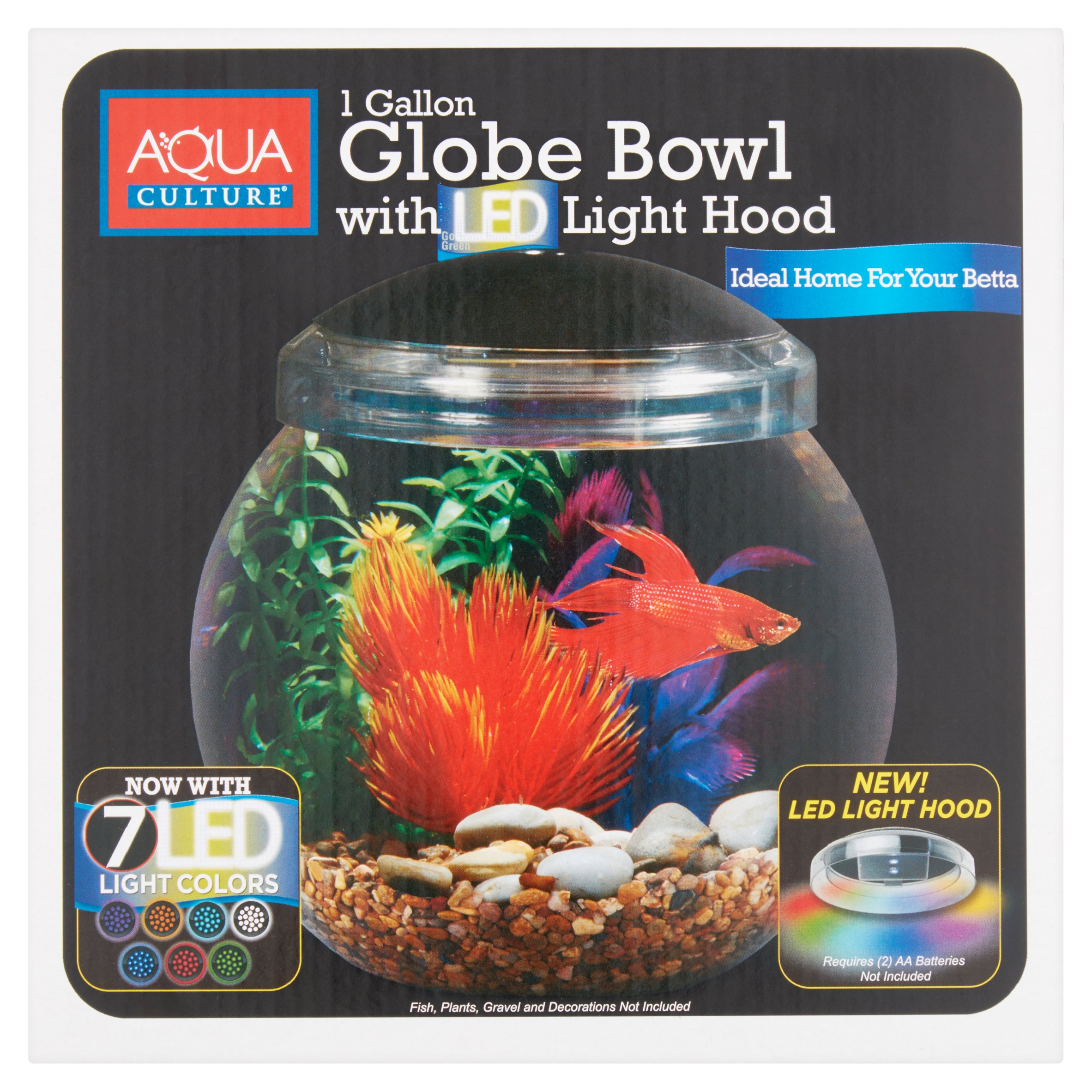 Aqua Culture 1-Gallon Globe Bowl with LED Light, 7.25\