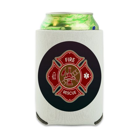 - Firefighter Fire Rescue Maltese Cross Can Cooler - Drink Sleeve Hugger Collapsible Insulator - Beverage Insulated Holder