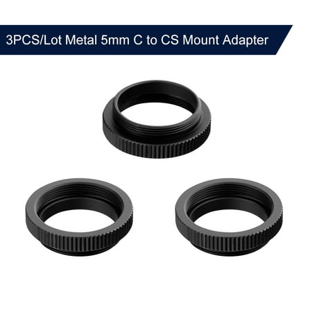 3PCS/Lot Metal 5mm C to CS Mount Adapter 25.4mm Thread C/CS Lens Mount Adaptor Aluminum Converter Ring for Security CCTV Camera