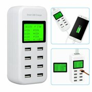 Multi USB Charger Charging Station, 8-Port Smart Multi USB AC Wall Charger Hub with LCD Display, Desktop USB Station Compatible iPhone X / 8/7 / 7Plus / 6s / 6Plus, iPad, Samsung Galaxy/Note and More