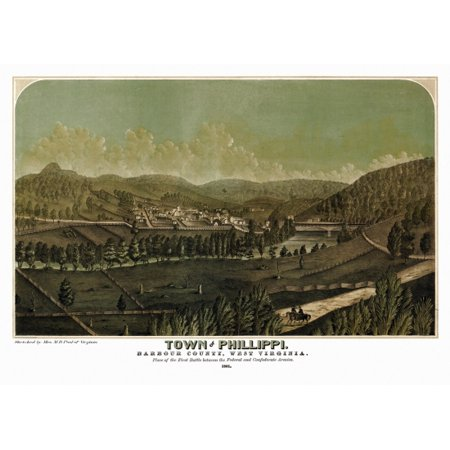 Antique Map of Phillippi West Virginia 1861 Barbour County Canvas Art -  (24 x (West Virginia Antique)