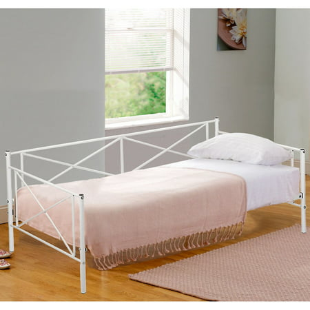 Twin Size Contemporary White Metal Day Bed Frame With