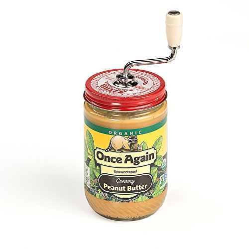 Grandpa Witmer's Old Fashioned Mess-Free Nut Butter and Natural Peanut Butter Mixer, Made in America, BPA Free, Fits 26-Ounce Jars with 3.25-Inch Lids