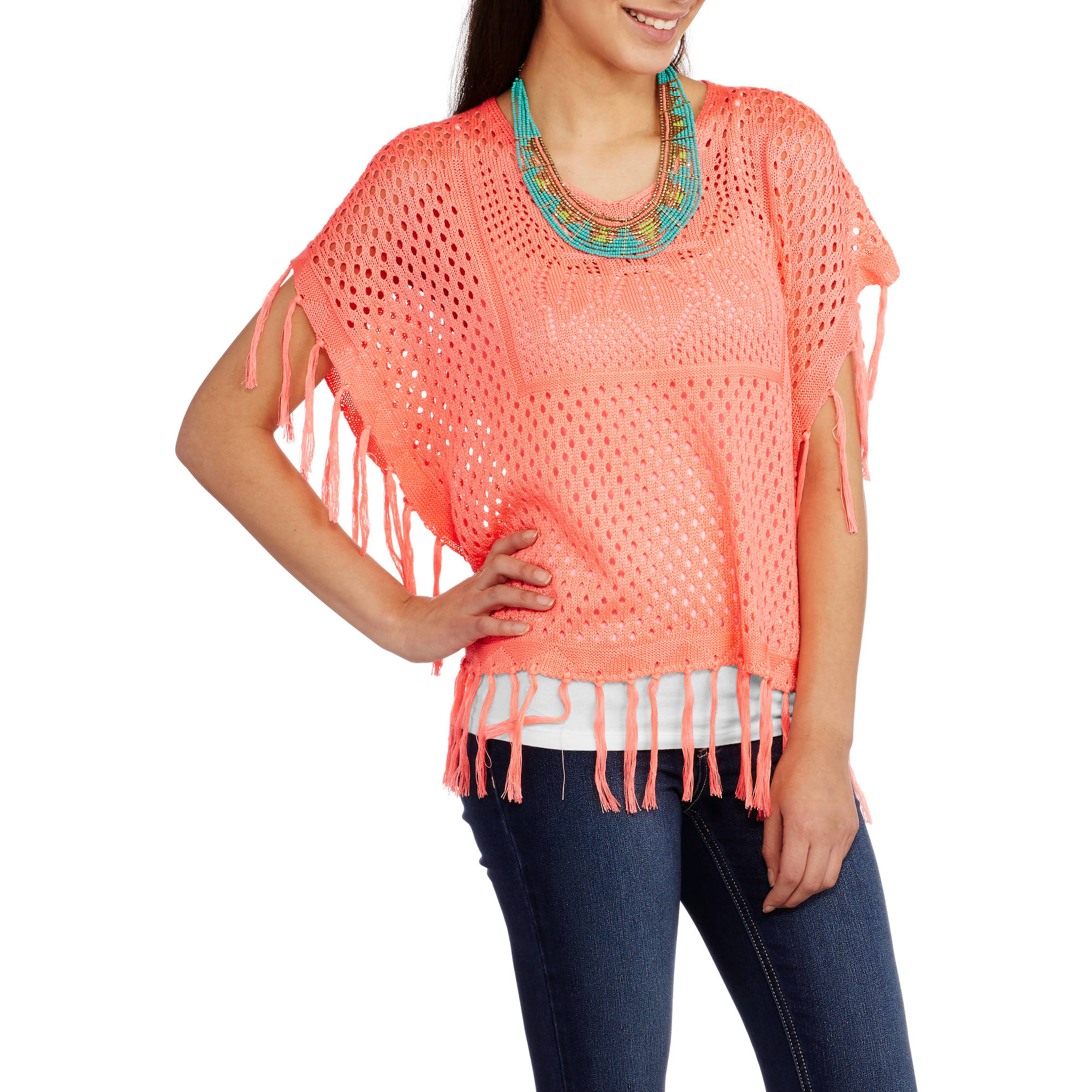 No Boundaries Juniors' Pullover Crochet Poncho with Fringe
