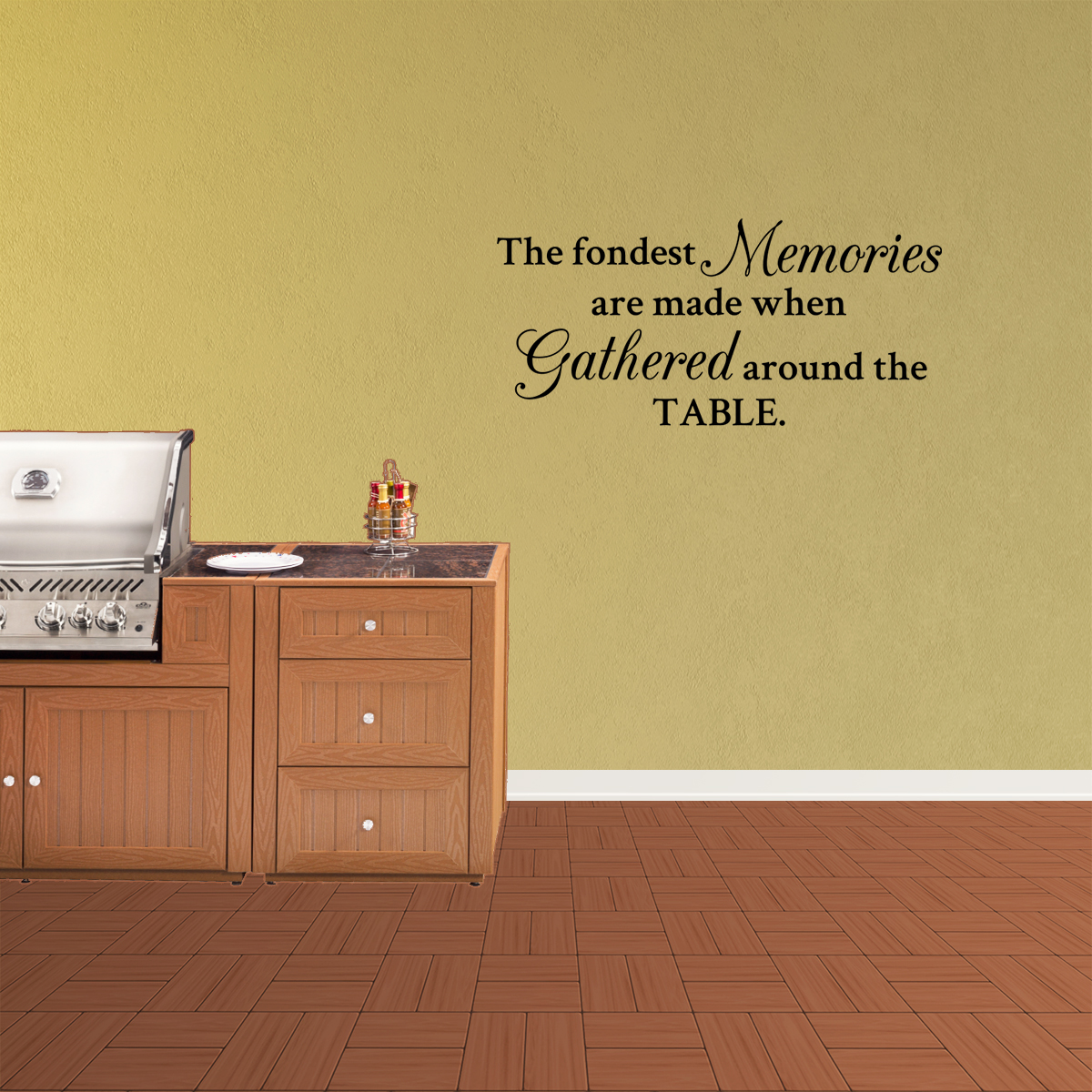 Wall Decal Quote The Fondest Memories Are Made When Gathered Around The Table Kitchen Dining Room PC955