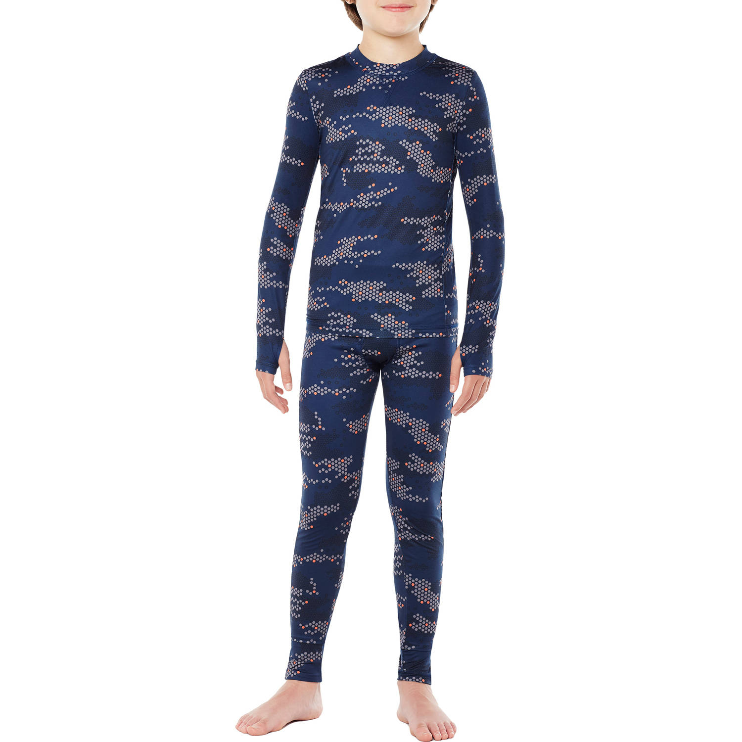 Climateright By Cuddl Duds Boys Poly Spandex Thermal Set with Inseam Thumbholes for Easy Layering
