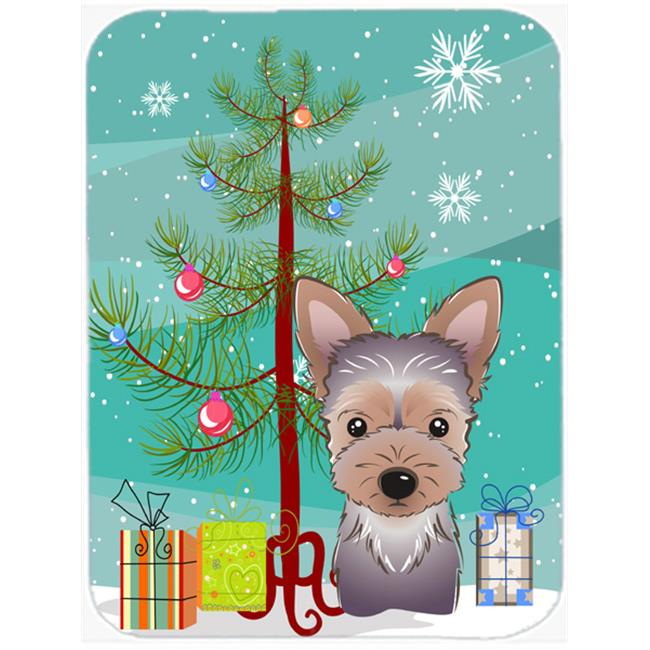Carolines Treasures BB1604LCB Christmas Tree And Yorkie Puppy Glass Cutting Board, Large - image 1 de 1