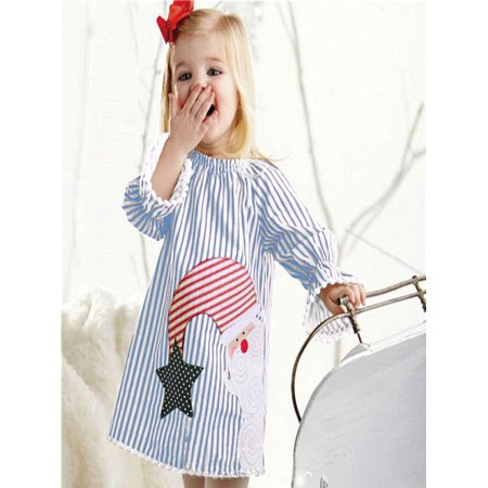 Toddler Kids Baby Girls Santa Striped Princess Dress Christmas Outfits Clothes - Children's Christmas Outfits