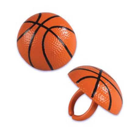 12 ct 3D Basketball Cupcake Topper Rings* - Tiara Cupcake Toppers