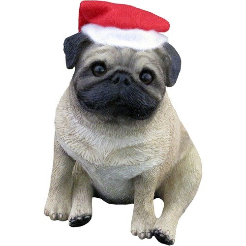 Sandicast Pug Fawn with Santa Hat Ornament